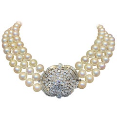 Three-Strand Pearl and Diamond Necklace