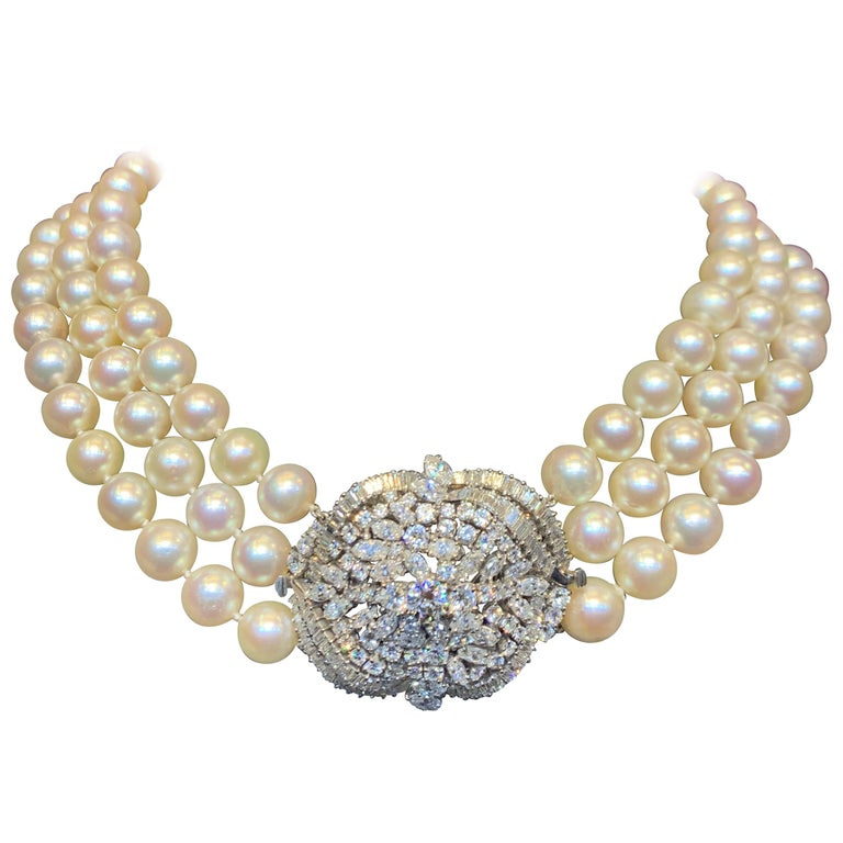 Three Strand Pearl  & Diamond Necklace 162 Diamonds total approximate 10 carats Center diamond element is convertible to a diamond brooch.  Measurements: 16.5