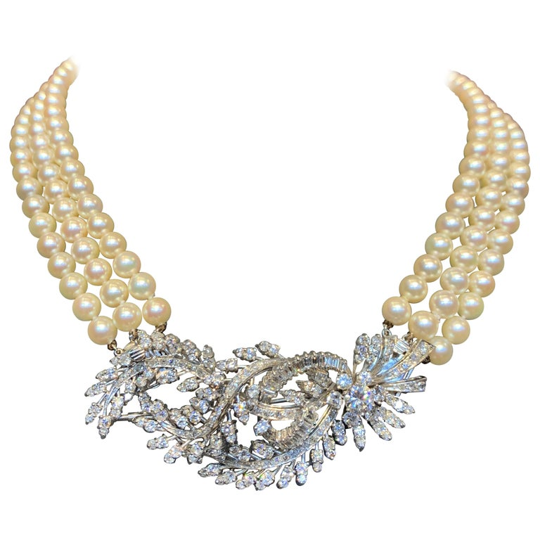 Three-Strand Pearl and Diamond Necklace For Sale