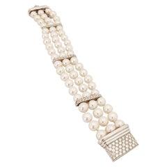 Three-Strand Pearl Bracelet with 18 Karat White Gold and Diamond Clasp