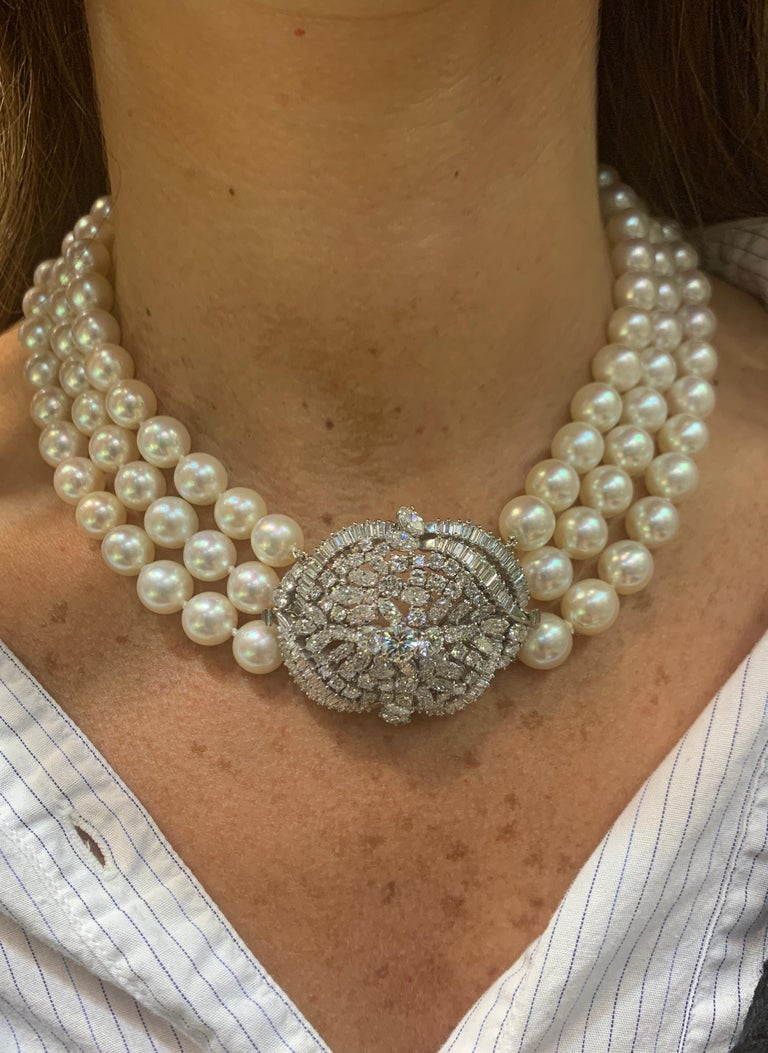 Bead Three-Strand Pearl and Diamond Necklace For Sale