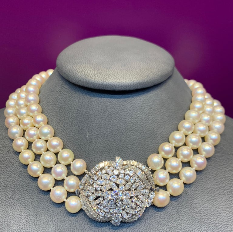 Three-Strand Pearl and Diamond Necklace In Excellent Condition For Sale In New York, NY