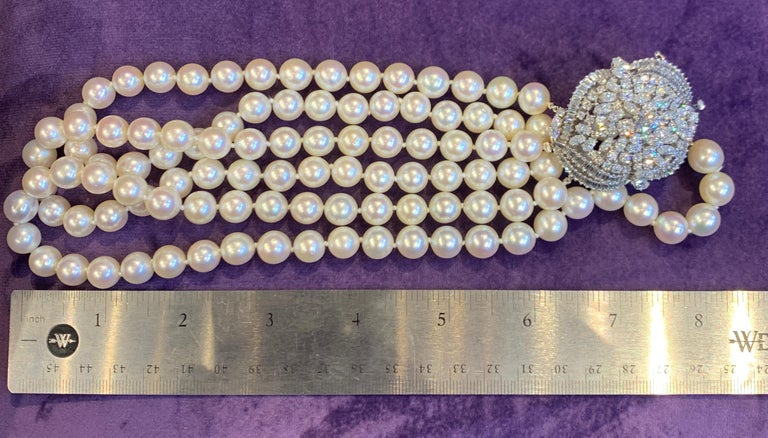 Three-Strand Pearl and Diamond Necklace For Sale 2