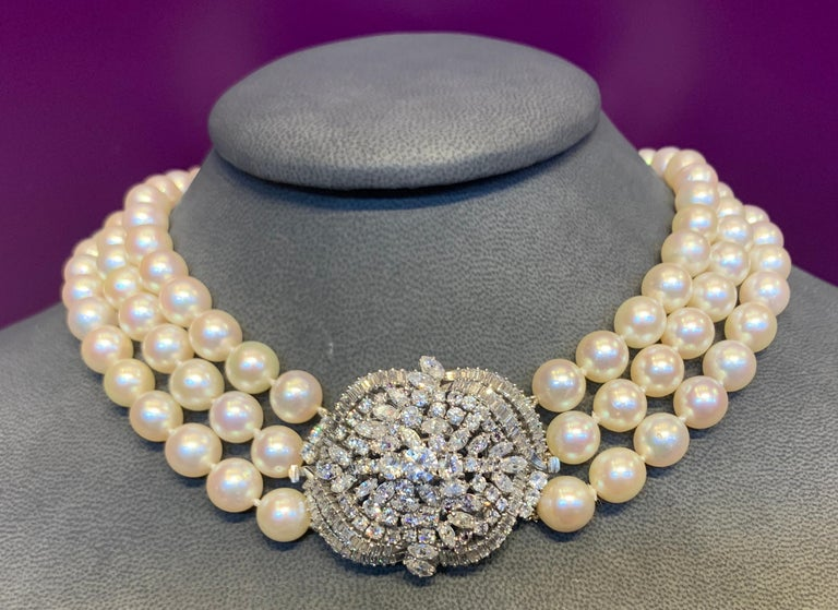 Three-Strand Pearl and Diamond Necklace For Sale 5