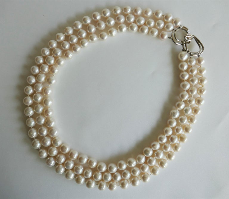 Three Strand White Cultured Pearls 925 Sterling Silver Necklace In New Condition For Sale In Coral Gables, FL