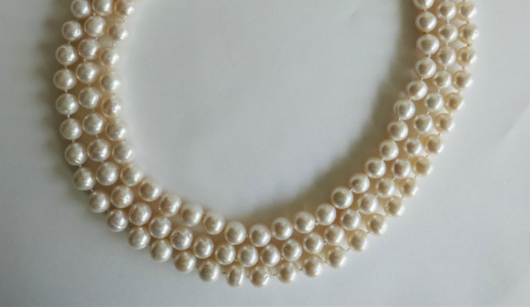 Women's Three Strand White Cultured Pearls 925 Sterling Silver Necklace For Sale