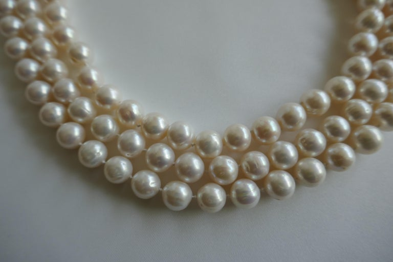 Three Strand White Cultured Pearls 925 Sterling Silver Necklace For Sale 1