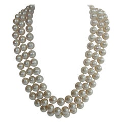 Three Strand White Cultured Pearls 925 Sterling Silver Necklace