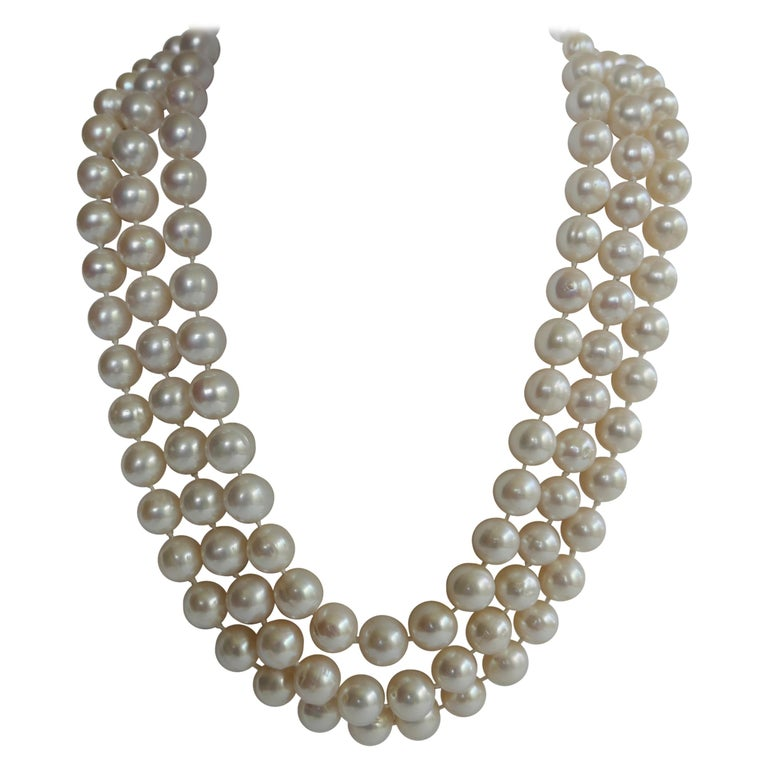 Three Strand White Cultured Pearls 925 Sterling Silver Necklace For Sale