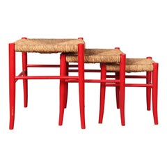 Three Straw and Painted Wood Stools