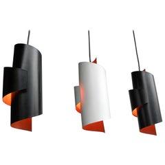 Three Swirl Black and White Pendant lamps by Simon Henningsen, Denmark, 1960s