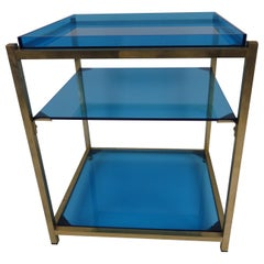 Three-Tier Blue Acrylic Brass Table