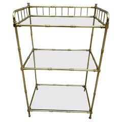 Three Tier Brass and Glass Etagere