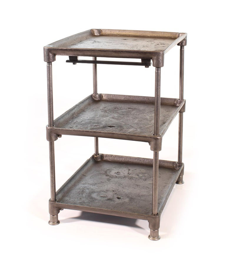 Steel Three-Tier Cast Iron Table For Sale