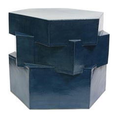 Three-Tier Contemporary Ceramic Almost Teal Hexagon Side Table
