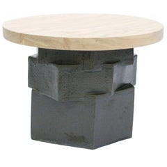 Three-Tier Contemporary Ceramic Black Hexagon Side Table with Ash Top