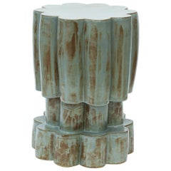 Three-Tier Contemporary Ceramic Blue Shino Cloud Side Table