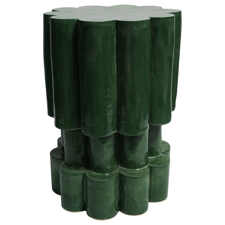 Three-Tier Contemporary Ceramic Chrome Green Cloud Side Table For Sale