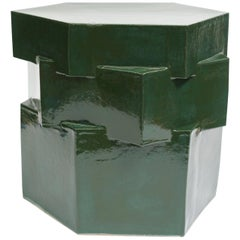 Three-Tier Contemporary Ceramic Chrome Green Hexagon Side Table