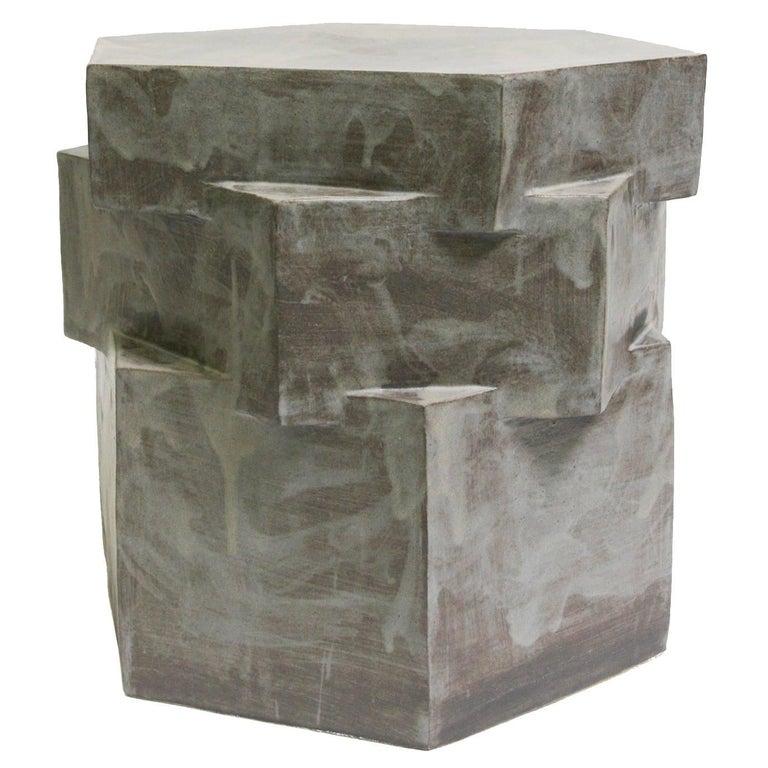 Three-Tier Contemporary Ceramic Gray Hexagon Side Table