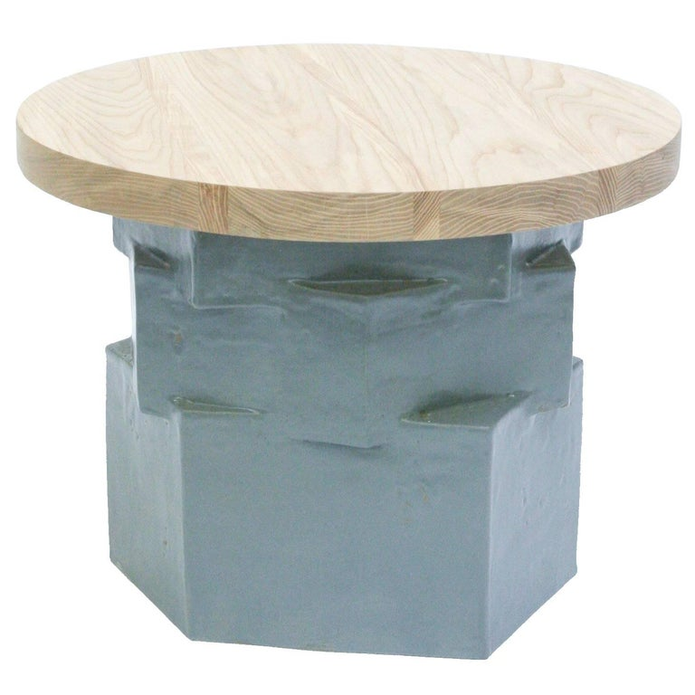 Three-Tier Contemporary Ceramic Gray Hexagon Side Table with Ash Top