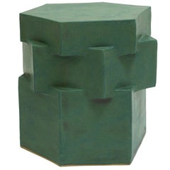 Three-Tier Contemporary Ceramic Green Hexagon Side Table