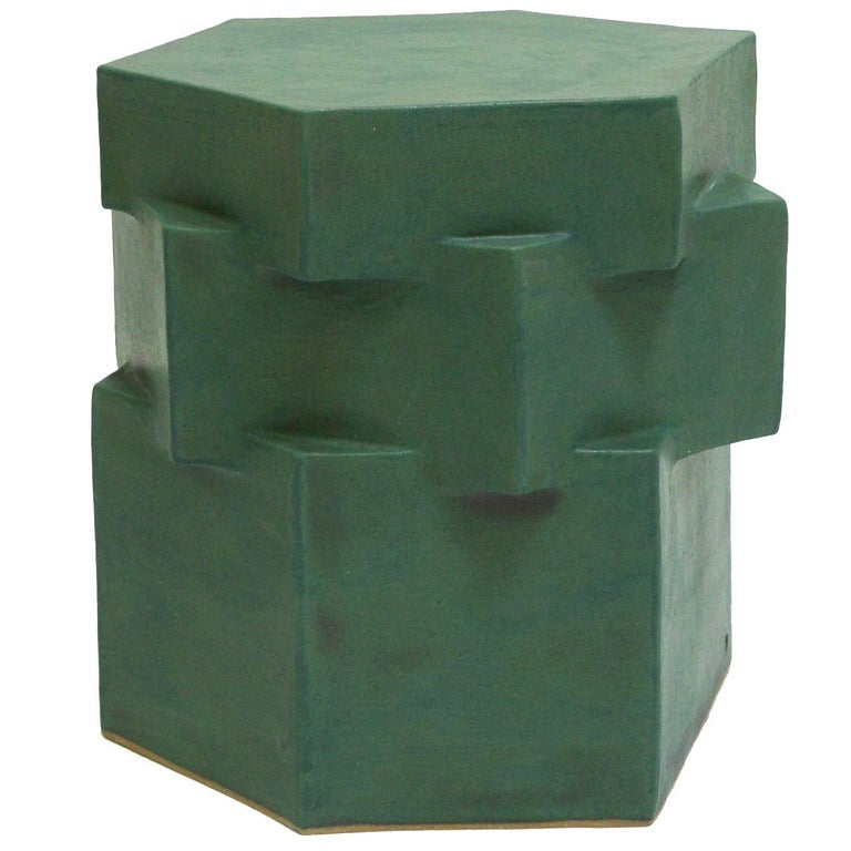 Three-Tier Contemporary Ceramic Green Hexagon Side Table For Sale