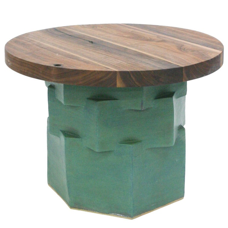 Three-Tier Contemporary Ceramic Green Hexagon Side Table with Teak Top