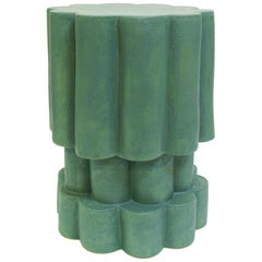 Three-Tier Contemporary Ceramic Matte Green Cloud Side Table
