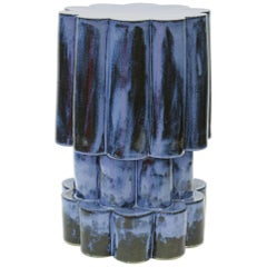 Three-Tier Contemporary Ceramic Mottled Blue Cloud Side Table
