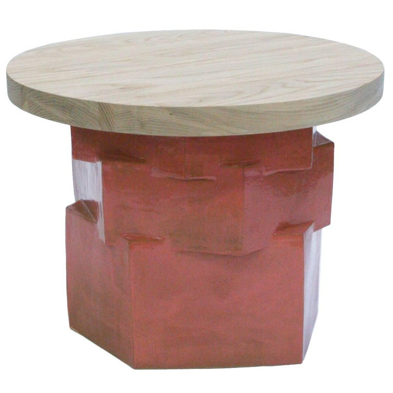 Three-Tier Contemporary Ceramic Pink Hexagon Side Table with Ash Top