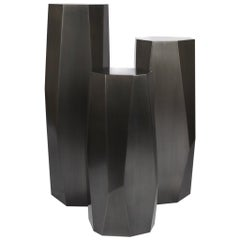 Three Tier Geometric Hex Display Pedestal Set Linear Blackened Finish