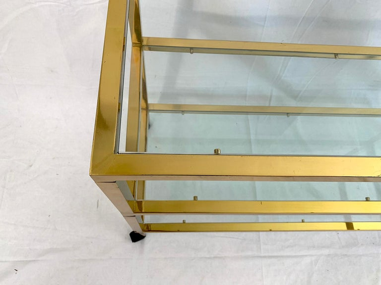 Mid-Century Modern Three-Tier Glass and Brass Drinks Cart For Sale
