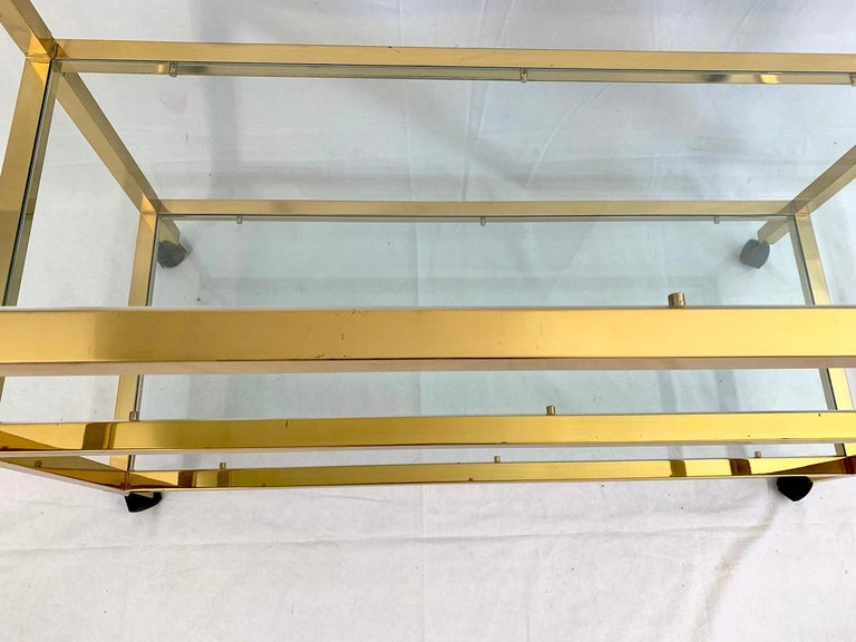 French Three-Tier Glass and Brass Drinks Cart For Sale