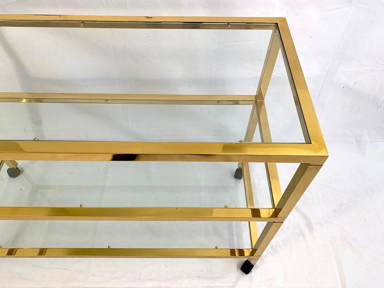 Metal Three-Tier Glass and Brass Drinks Cart For Sale