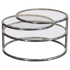 1970's Three Tier Glass and Tubular Chrome Articulating Cocktail Table