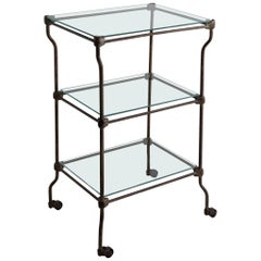 Three-Tier Iron and Glass Cart