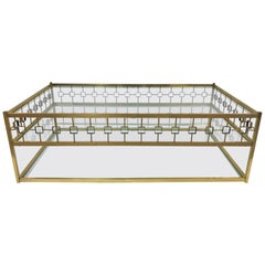 Three-Tier Maison Jansen Style Brass and Glass Coffee Table
