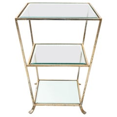 Three-Tier Metal and Silver Leaf Side Table