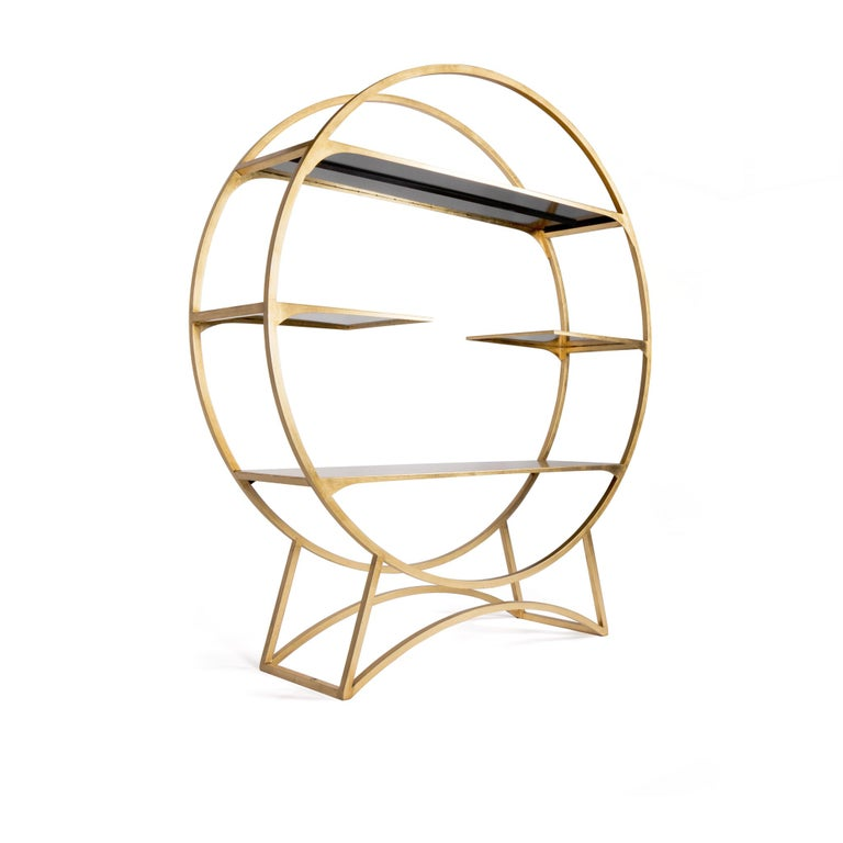 Modern Three Tier Metal Orbital Book Shelf with Gilded Golden Leaf Finish, in Stock For Sale