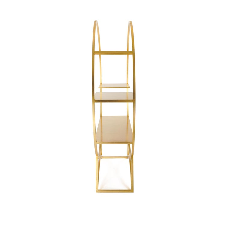 American Three Tier Metal Orbital Book Shelf with Gilded Golden Leaf Finish, in Stock For Sale