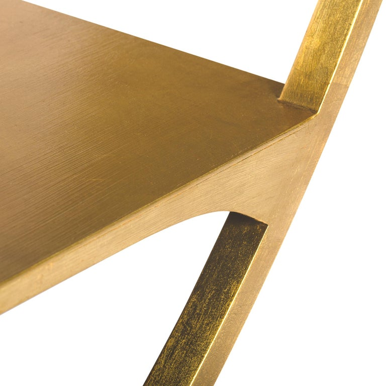 Three Tier Metal Orbital Book Shelf with Gilded Golden Leaf Finish, in Stock In New Condition For Sale In Seattle, WA