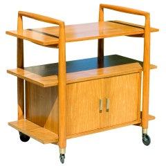 Three-Tier Midcentury Bar Cart with Storage Cabinet