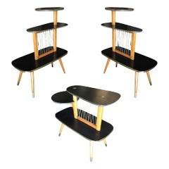 Three-Tier Midcentury Side Tables, Set of Three
