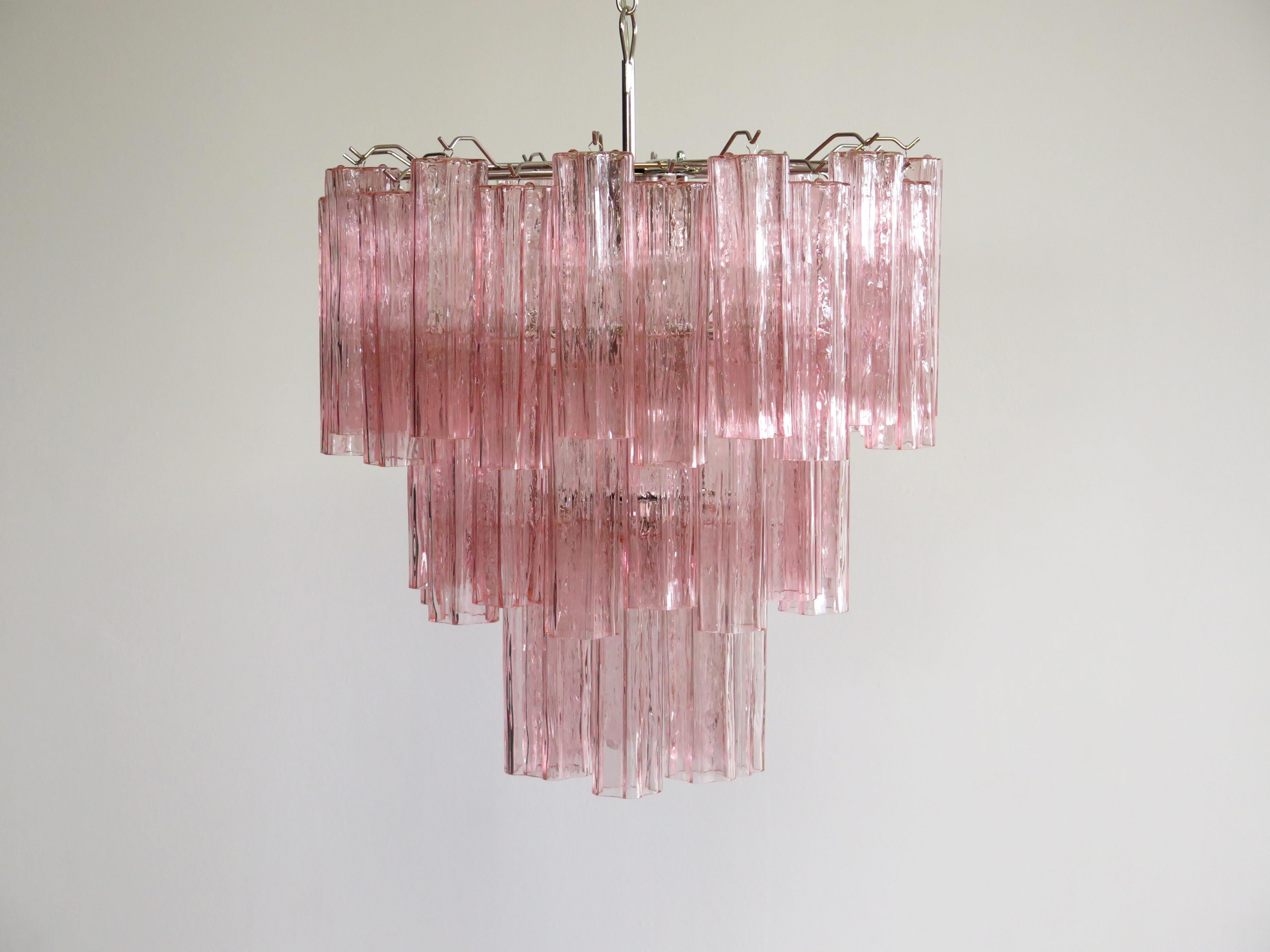 Three Tier Murano Glass Tube Chandelier 48 Pink Glasses Mid Century Modern