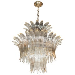 Three-Tier Palma Chandelier in Clear Hand Blown Murano Glass and Brass Fittings