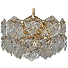 Three-Tier Pendant Chandelier Crystal Glass or Gilt Brass by Kinkeldey, 1970s