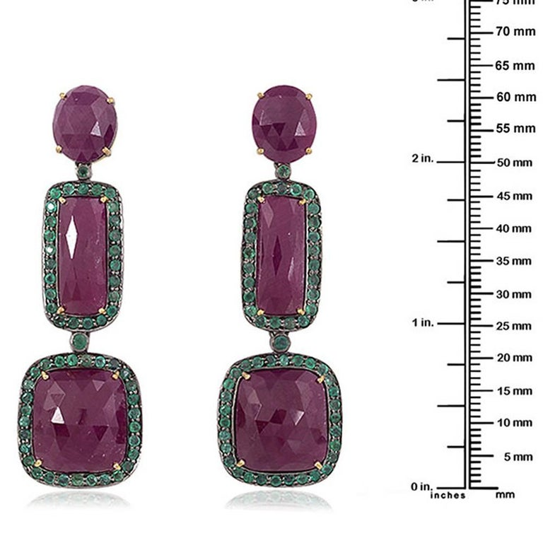 Modern Three-Tier Ruby and Emerald Earring For Sale