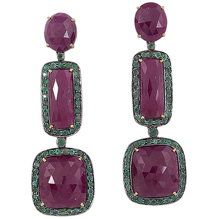 Three-Tier Ruby and Emerald Earring For Sale