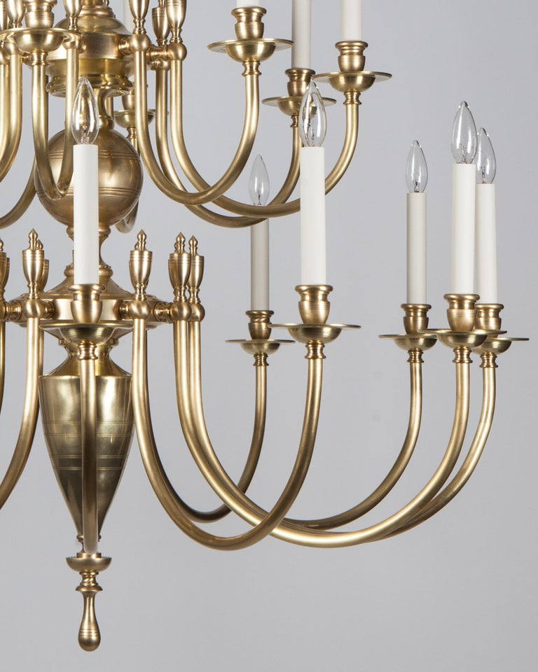 American Three-Tier Solid Brass Astrid 24 Chandelier by Remains Lighting, Burnished Brass For Sale